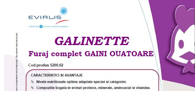 Furaje GAINI OUATOARE Evialis GALINETTE - fisa tehnica