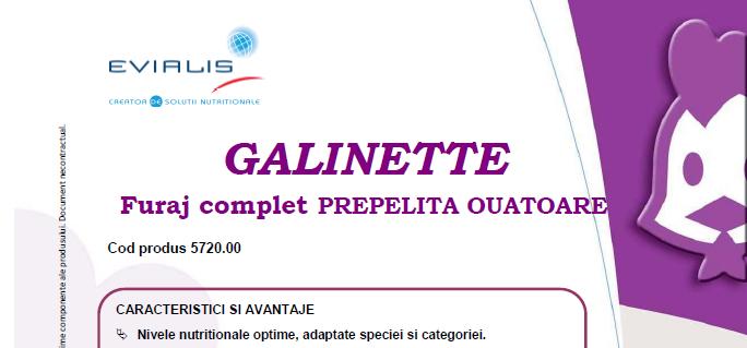 Furaje PREPELITA OUATOARE Evialis GALINETTE - fisa tehnica