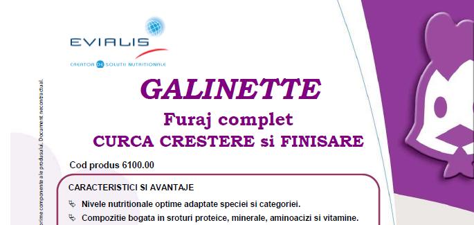 Furaje CURCA Evialis GALINETTE - fisa tehnica