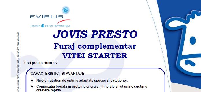 Furaje VITEI Evialis JOVIS PRESTO - fisa tehnica