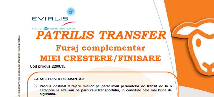 Furaje MIEI Evialis PATRILIS TRANSFER - fisa tehnica